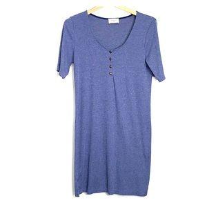 EVERLY • Ribbed Knit Jersey Heather Blue Dress